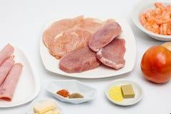 Ingredienti crudi per preparare le verdure sauteed con le carni Fotografia Stock Libera da Diritti