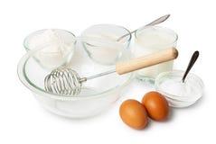 Ingredienti, cucinati a pasta per i pancake Immagini Stock Libere da Diritti