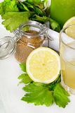 Ingredienti del cocktail della disintossicazione: Gambo del sedano con zucchero bruno ed il limone Fotografie Stock Libere da Diritti