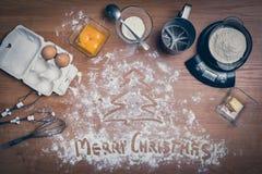 Ingredienti del dolce sulla tavola Fotografia Stock