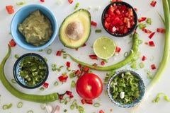 Ingredienti del guacamole su fondo bianco: avocado, paprica, pomodoro, cipolla Immagini Stock Libere da Diritti