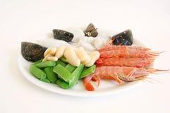 Ingredienti del Paella - ricetta del riso spagnolo fotografie stock