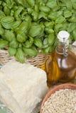 Ingredienti del pesto genuino del basilico Fotografia Stock Libera da Diritti