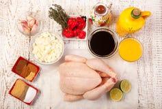 Ingredienti del pollo di scatto fotografia stock
