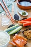 Ingredienti deliziosi casalinghi dei sushi Immagine Stock
