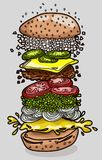 Ingredienti dell'hamburger con fondo Illustrat variopinto di vettore Immagine Stock Libera da Diritti