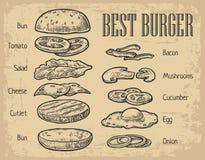 Ingredienti dell'hamburger sulla lavagna componenti dipinte Fotografia Stock Libera da Diritti