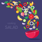 Ingredienti dell'insalata che volano nella ciotola illustrazione di stock
