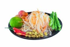 Ingredienti dell'insalata della papaia immagini stock libere da diritti