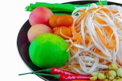 Ingredienti dell'insalata della papaia fotografie stock