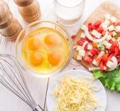 Ingredienti dell'omelette immagine stock