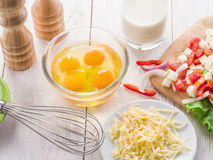 Ingredienti dell'omelette fotografie stock libere da diritti