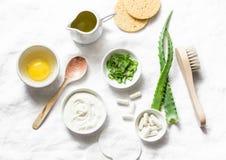 Ingredienti della maschera di protezione dell'aloe - aloe, yogurt, uovo, olio d'oliva ed accessori di bellezza su fondo leggero,  immagine stock libera da diritti
