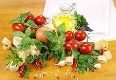 Ingredienti della pasta Immagine Stock