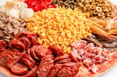 Ingredienti della pizza, verdure, carne immagini stock libere da diritti