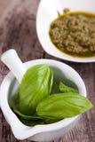 Ingredienti della salsa di Pesto Fotografia Stock Libera da Diritti