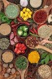 Ingredienti della spezia e dell'erba Fotografie Stock Libere da Diritti