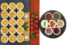 Ingredienti di alimento italiani Fotografia Stock Libera da Diritti