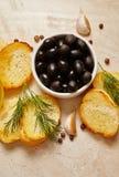 Ingredienti di alimento italiani Fotografia Stock