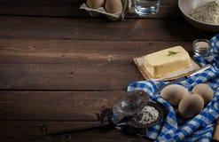 Ingredienti di cottura, spazio libero - fondo dell'alimento Fotografia Stock