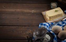 Ingredienti di cottura, vista superiore - fondo dell'alimento Fotografia Stock