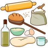 Ingredienti di ricetta di cottura del pane illustrazione di stock