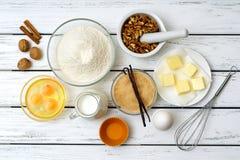 Ingredienti di ricetta della pasta Fotografie Stock