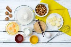 Ingredienti di ricetta della pasta Fotografia Stock