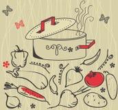 Ingredienti e POT di verdure della minestra Immagine Stock