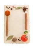 Ingredienti e spezie di alimento su bianco Fotografia Stock Libera da Diritti
