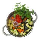 Ingredienti freschi del taglio per la minestra di verdura Fotografie Stock Libere da Diritti