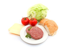 Ingredienti freschi dell'hamburger fotografia stock