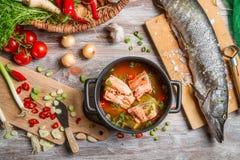 Ingredienti freschi per la minestra del pesce Fotografia Stock