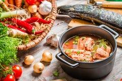 Ingredienti freschi per la minestra del pesce Immagini Stock Libere da Diritti