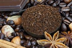Ingredienti gastronomici del caffè Fotografie Stock Libere da Diritti
