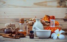 Ingredienti naturali della stazione termale e palla di erbe della compressa per l'alternativa fotografia stock libera da diritti