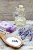 Ingredienti naturali per l'olio di lavanda casalingo del corpo fotografia stock libera da diritti