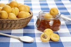 Ingredienti per cucinare l'inceppamento dell'albicocca Fotografie Stock