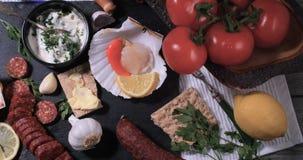 Ingredienti per i pettini di re con chorizo Fotografie Stock
