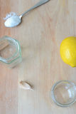 Ingredienti per il condimento dell'insalata Fotografia Stock Libera da Diritti