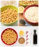 Ingredienti per il hummus fatto domestico Fotografia Stock