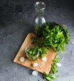 Ingredienti per il liquore della menta Fotografia Stock
