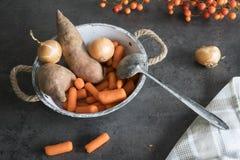 Ingredienti per il pasto olandese Hutspot fotografie stock