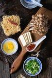 Ingredienti per il ramen asiatico della minestra Immagine Stock