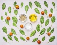 Ingredienti per l'insalata, le erbe, il petrolio, il pepe, il sale ed i condimenti, su un fondo rustico bianco Fotografia Stock Libera da Diritti