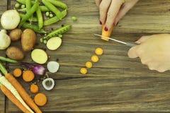 Ingredienti per la carota del taglio della minestra e della donna di estate con il coltello Immagini Stock