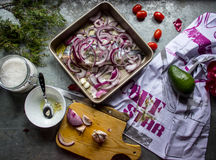 Ingredienti per la cottura del dorado del pesce Fotografia Stock Libera da Diritti