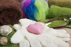 Ingredienti per la fabbricazione del sapone a casa Fotografia Stock