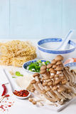 Ingredienti per la minestra asiatica di ramen Immagine Stock