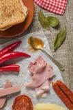 Ingredienti per la preparazione dello spuntino portoghese tradizionale Immagini Stock Libere da Diritti